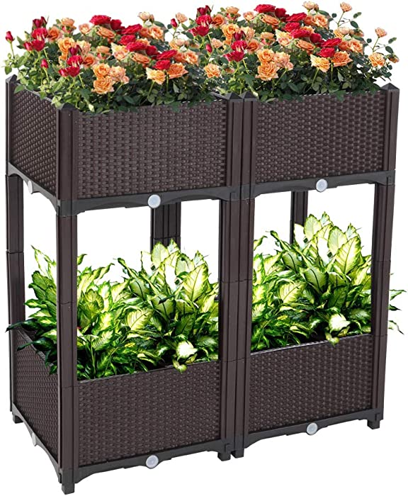 Planter Raised Beds Kits Set of 4, Plastic Elevated Garden beds with Brackets for Flowers Vegetables, Outdoor Indoor Planting Box Container for Garden Patio Balcony Restaurant, Easy Assembly (Brown)