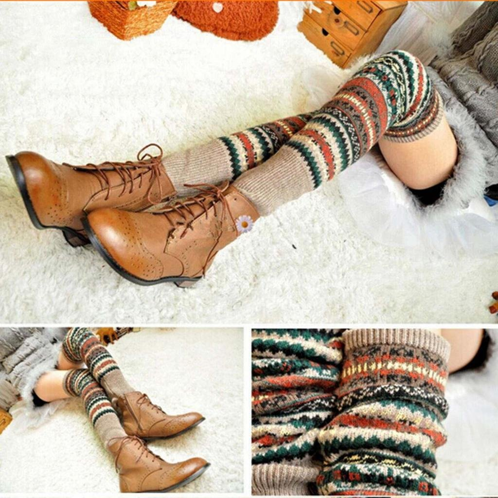 HuntGold Women Winter Long Leg Warmers Knit Crochet Socks Legging Stocking(khaki)