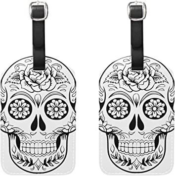 Cool Mexican Vintage Skull Luggage Tag Label Travel Bag Label With Privacy Cover Luggage Tag Leather Personalized Suitcase Tag Travel Accessories