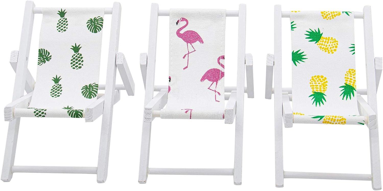 AUEAR, 3 Pcs 1:12 Scale Miniature Foldable Dollhouse Chair Accessory Deck Chair for Dollhouse Decoration (Style A)