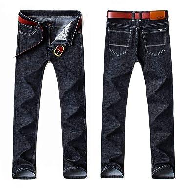 b6e6aefa62a Four Seasons Style Men Casual Jeans Slim Straight Elasticity Thin Jeans  Loose Waist Long Trousers Plus