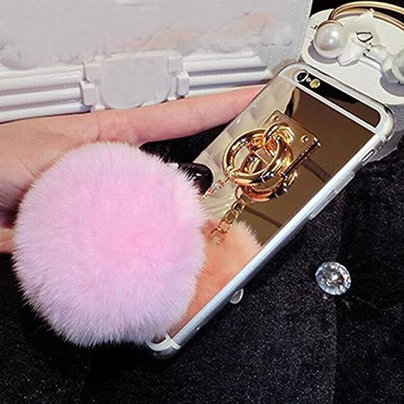 info for 638e4 9b7b9 iPhone 6 Case, iPhone 6s Case - LU2000 Cute 3D Fluff Pom Pom Keychain PC &  TPU Fur Phone Case Gold Back Cover with Mirror for Apple iPhone 6/6s (4.7