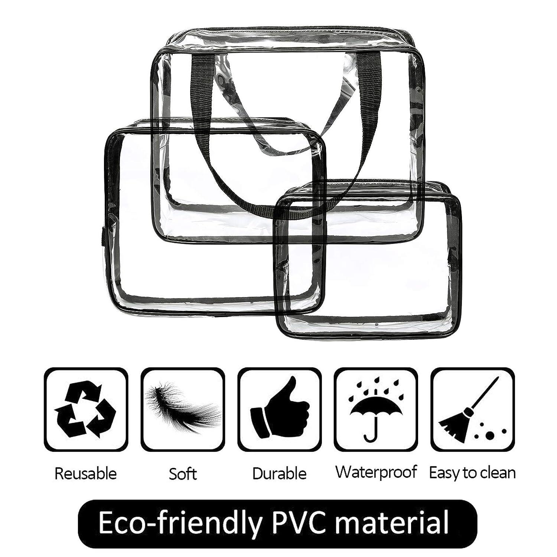 Eono Essentials Trousses de toilette 3 en 1Trousses et /étuis /à maquillage Sac en plastique transparent Sac de voyage en PVC Brosses Organisateur pour hommes et femmes
