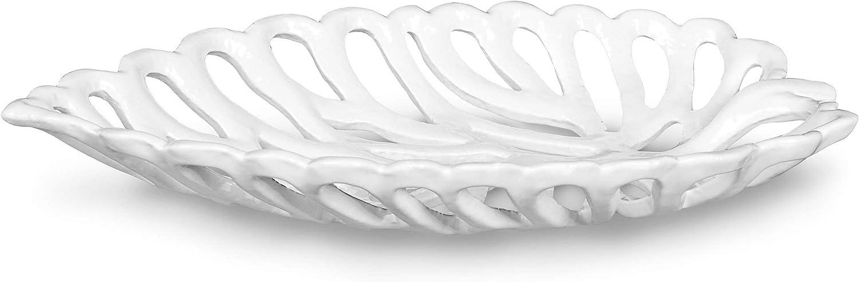 Relaxdays Obstschale aus Gusseisen Gr/ö/ße L ca wei/ß 3,5 x 15 x 26 cm HBT Dekoschale im Blatt-Design als Servierplatte f/ür Obst und Gem/üse Schale f/ür Dekoartikel Metallschale f/ür Geb/äck und Pralinen