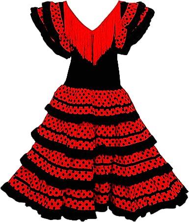 Vestido Flamenco Disfraz Sevillana, Traje de Andaluza la Señorita, Carnaval, Bailar Flamenca para Niñas y Mujer- con Lunares Negros y Blancos: Amazon.es: Ropa y accesorios
