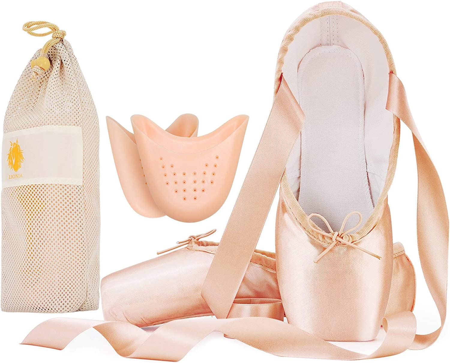 IJONDA Adult Ballet Pointe Shoes for Girls Women with Toe Pads and Mesh Bag