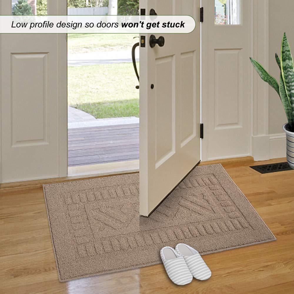 FONEYI Indoor Doormat Super Absorbs Mud Mat 20x 33.8Latex Backing Non Slip Door Mat for Small Front Door Inside Floor Dirt Trapper Mats Entrance Rug Shoes Scraper Machine Washable Grey