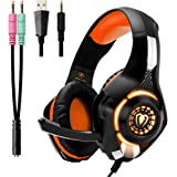 Beexcellent Cuffie Gaming PS4 Noise Cancelling Stereo Bass 3.5mm Gioco Video Cuffia con Microfono con LED per Xbox One Portatili Mac Tablet