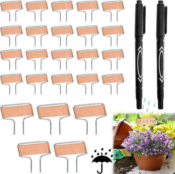 25 Pcs Copper Plant Tags Markers, 25 Pcs Garden Labels Markers with 2 Pcs Marker Pens, Plant Labels for Outdoor Garden, Plant Markers for Garden Waterproof