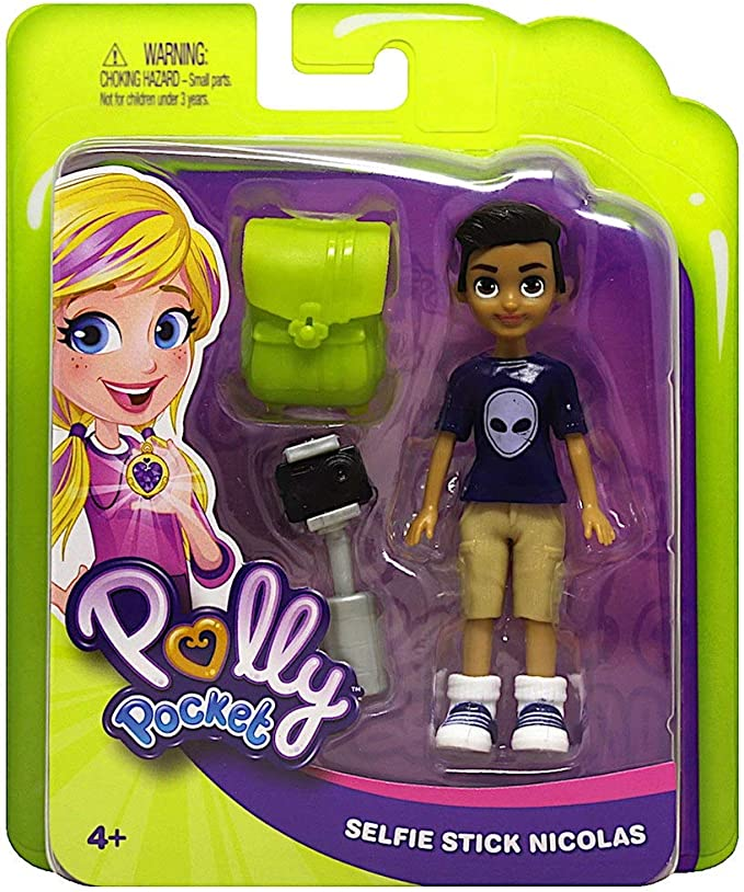 POLLY POCKET Lot 2018 Selfie Stick Nicolas Boy Doll /& Pogo-a-gogo Girl Set New