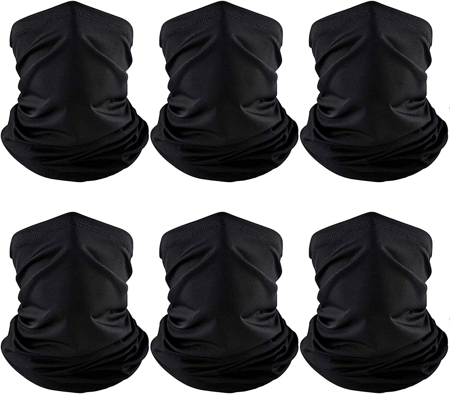6 Pieces Summer Face Cover Scarf UV Protection Neck Gaiter Sunscreen Breathable Bandana