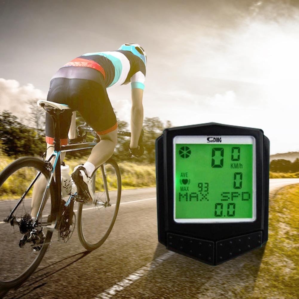 xluckx - Cronómetro inalámbrico para Bicicleta, multifunción, Impermeable, con Pantalla LCD retroiluminada, Distancia de Seguimiento de Bicicleta, ...