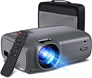 JEEMAK Mini Video Projector,Outdoor Movie Projector 1080P and 200 Inch Display Supported, Smart Projector with 5500 Lux Porbable Projector Compatible with Smartphone,TV Stick,PS4,HDMI,VGA,USB,SD,AV