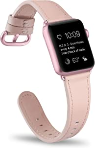BRG for Apple Watch Band 38mm 40mm, Genuine Leather iWatch Replacement Band with Stainless Steel Clasp for Apple Watch Series 5 Series 4 Series 3 Series 2 Series 1 Sport and Edition,Pink Sand