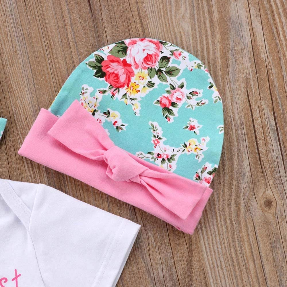 HGWXX7 4PCS Newborn Baby Girls Boys Mothers Day Romper Jumpsuit+Floral Shorts+Hat+Headbands Outfits Set
