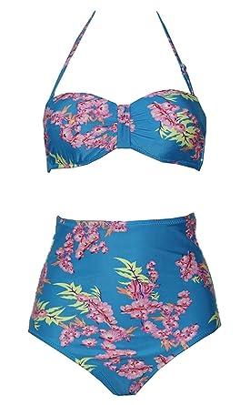 48642872b7 Jamesoark Sexy Women s Vintage Style High Waisted Bikini Sets Swimsuits  Swimwear 0252 Dark Blue Small