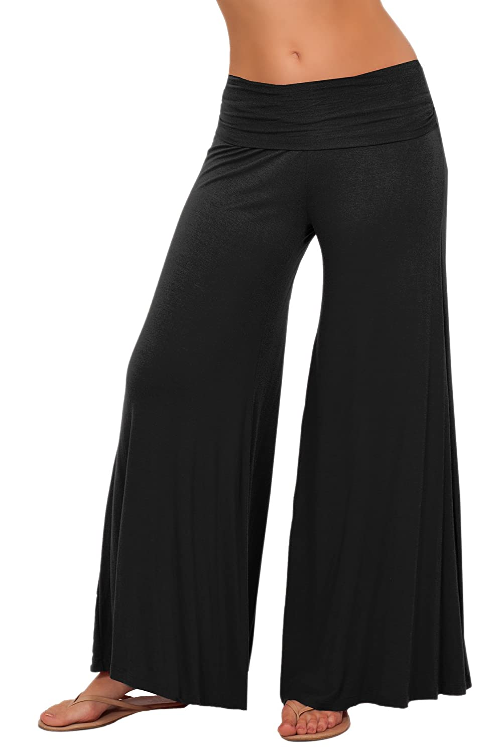 Long Gaucho Boho Flare Elephant Wide Leg Chic Sophisticated Casual Sassy Pants Black Small P4036 BLACK S