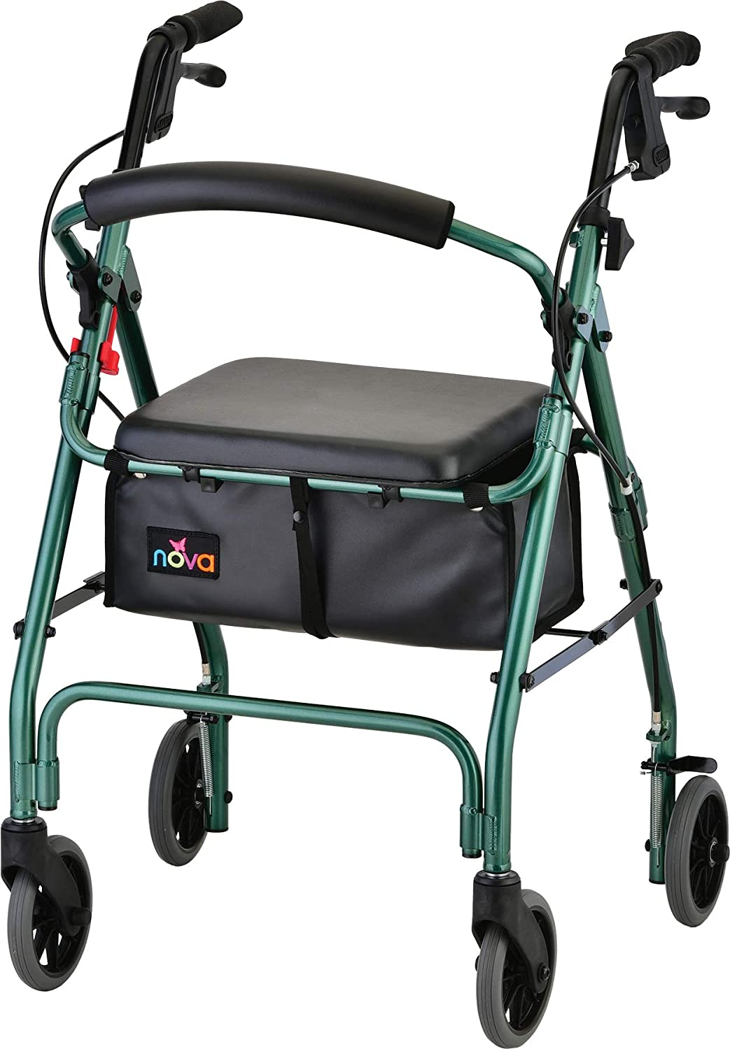 "NOVA GetGo Classic Rollator Walker (Standard Size), Rolling Walker for Height 5'4"" - 6'1"", Seat Height is 22.25"", Color Green"