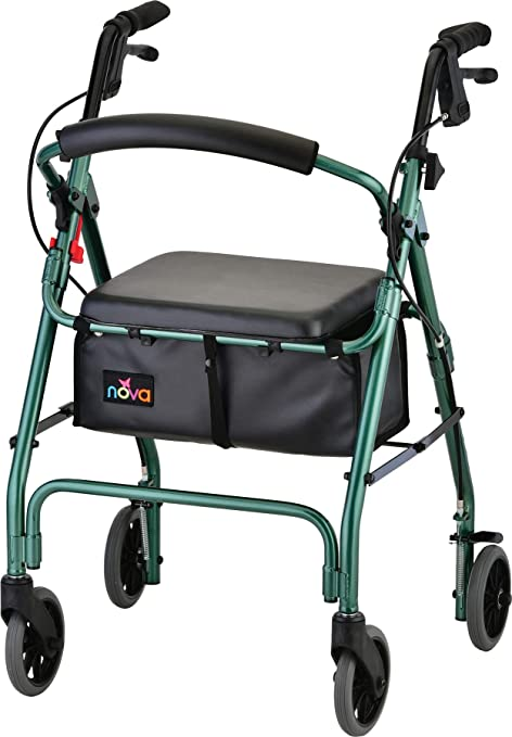 "NOVA GetGo Classic Rollator Walker (Standard Size), Rolling Walker for Height 54"" - 61"", Seat Height is 22.25"", Color Green"
