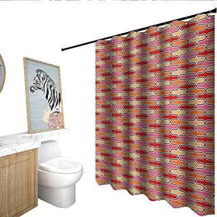 Homecoco Retro Fabric Shower Curtain Color Bands Round Edged Shapes In Horizontal Direction Vivid Colored Pattern