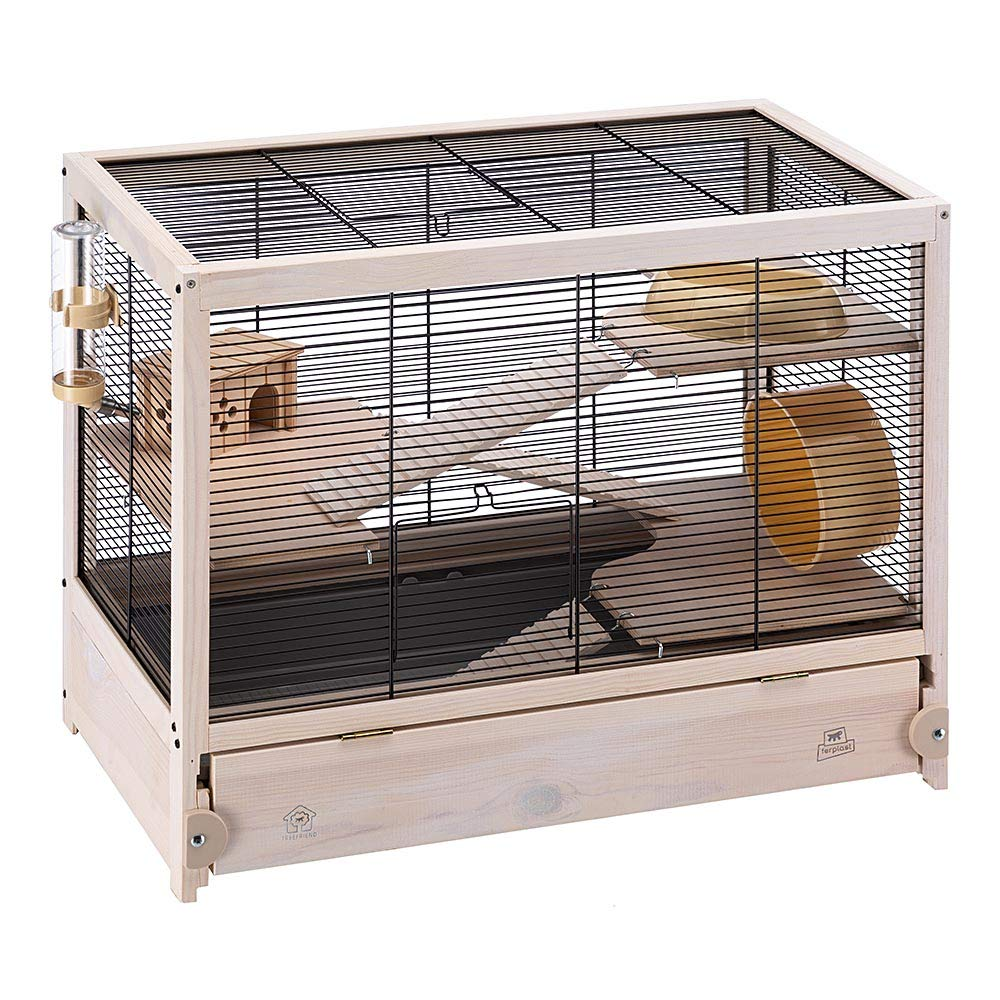 Ferplast HAMSTERVILLE Hamster Habitat Cage, Sturdy Wooden Structure, Black by Ferplast