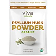 Viva Naturals Organic Psyllium Husk, 24 oz (1.5 lb) - Everyday Fiber Support, Finely Ground for for Easy Mixing