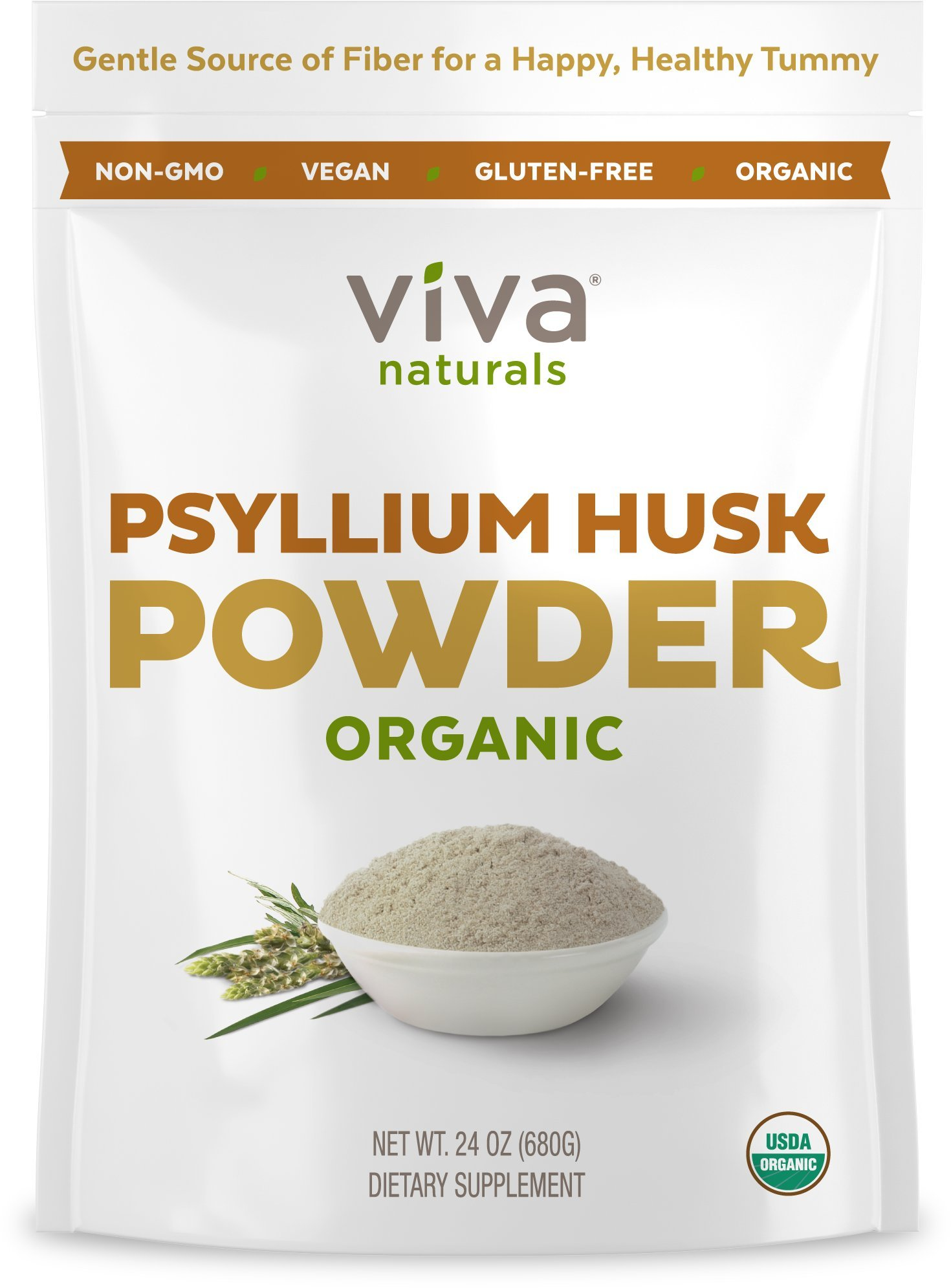 Viva Naturals Organic Psyllium Husk, Everyday Fiber Support, Finely Ground for for Easy Mixing, 24 oz.