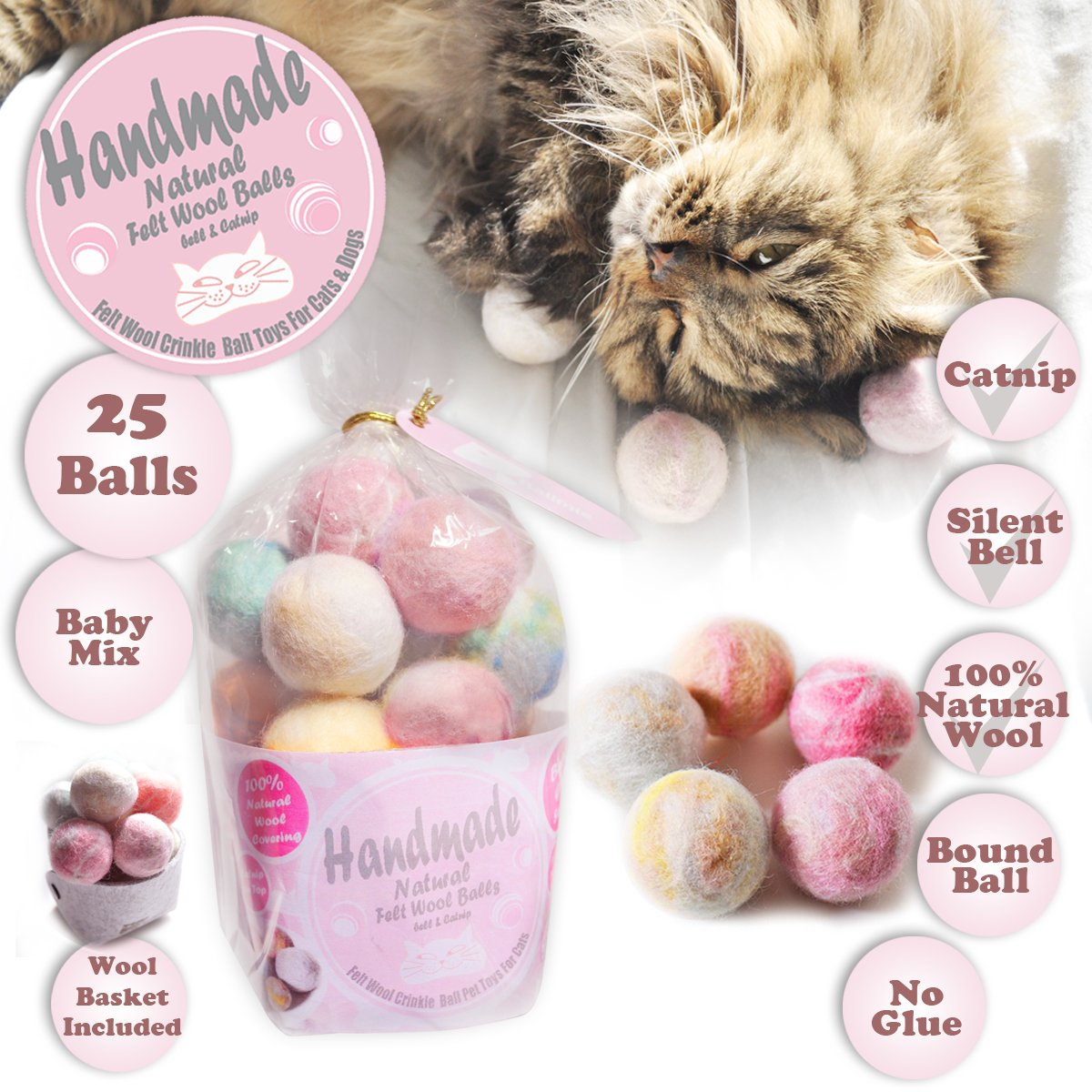 Ballmie Felt Wool Cat Toys Ball with catnip and bell, Natural Handmade (Baby Mix (25 Units)) by Ballmie (Image #1)