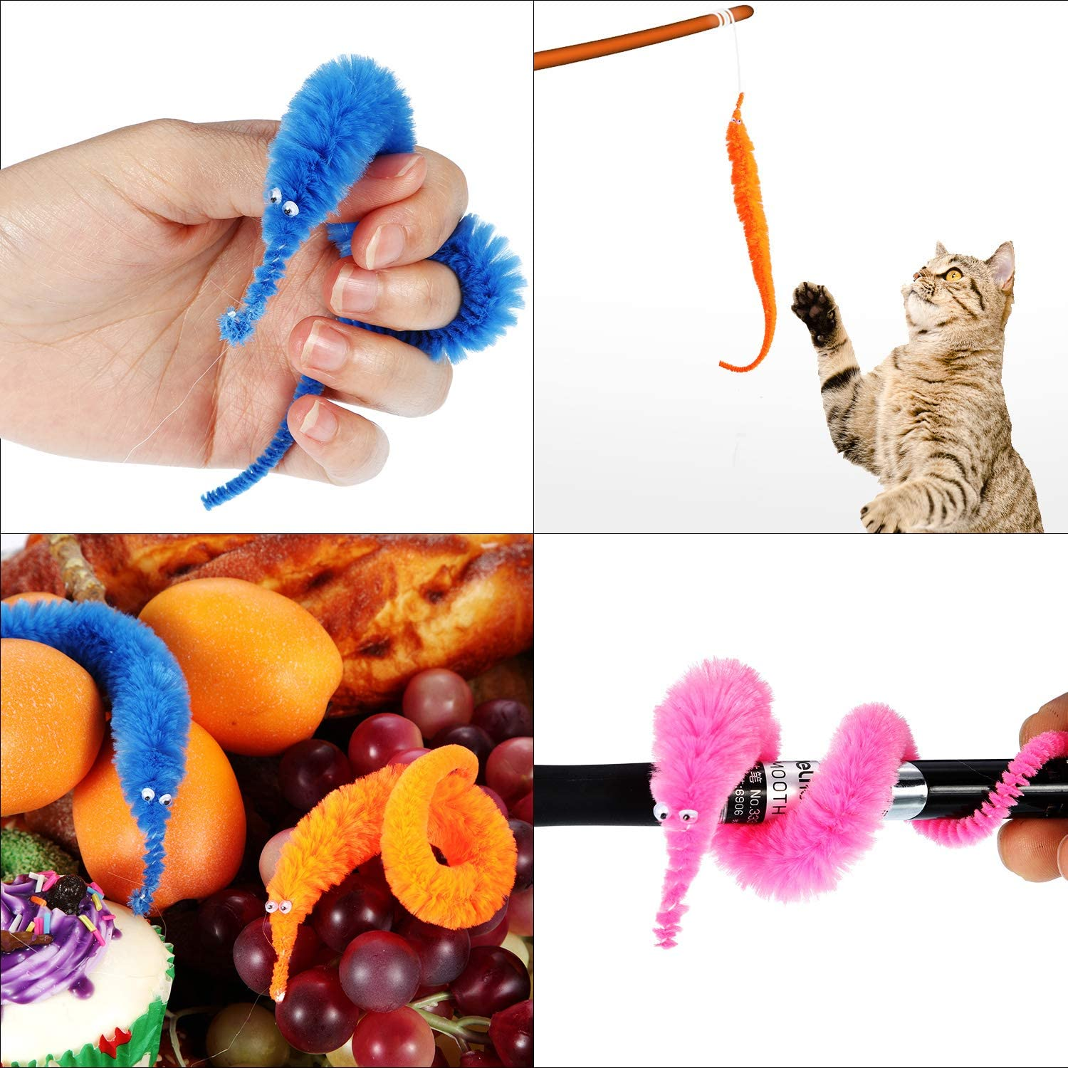 Random Color 144 Pieces Blulu Magic Worm Toys Wiggly Twisty Fuzzy Worm Toys Carnival Party Favors
