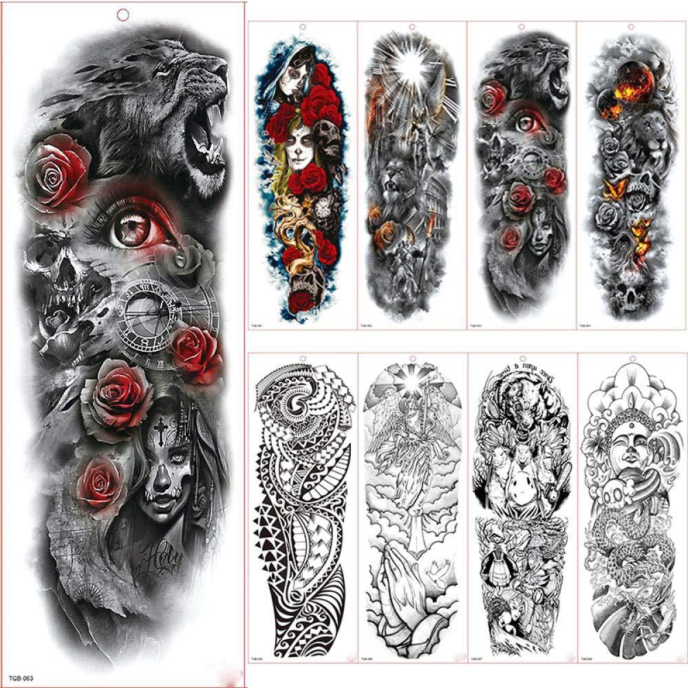 Tatuajes De Manga De Brazo Grande Tatuajes Temporales A Prueba De ...