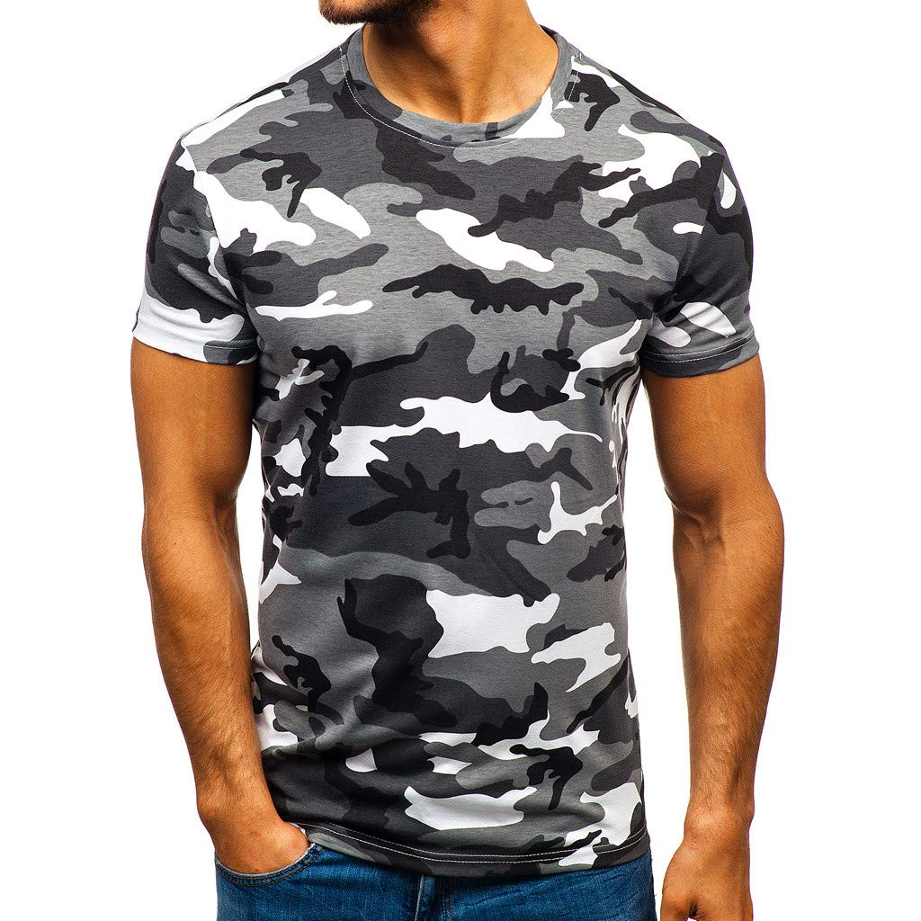 Summer Clothes Top for Men,Sharemen Camouflage Striped Pattern Casual Fashion Lapel Short Sleeve Shirt(Gray,XL)