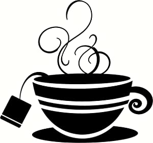 Wall Décor Plus More WDPM2109 Striped Teacup with Steam Kitchen Wall Art Vinyl Sticker Decal, 12x11.5-Inch, Black