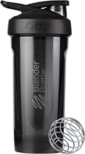 BlenderBottle Strada Tritan Shaker Bottle with Locking Lid, 28-Ounce, Black