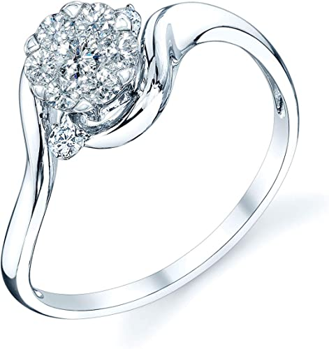 Silver, 7 White Gold Plated Prong Set Ring Round Cut Solitaire Engagement Ring Bypass Size 5 6 7 8