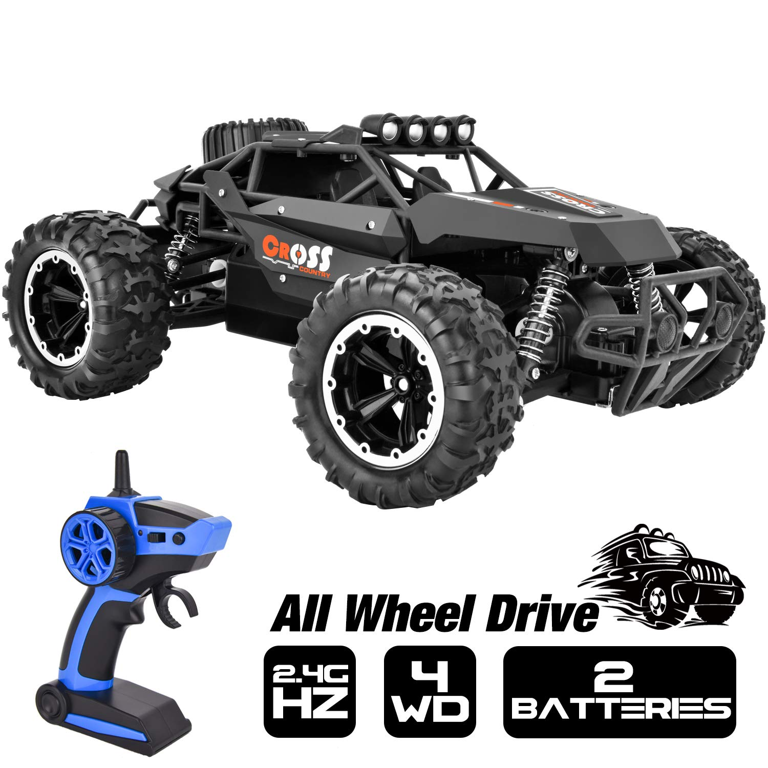 Rainbrace High Speed RC Cars for Boys 1//16 RC Truck Remote Control Car Off Road 4x4 RC Trucks for Kids with 2.4G Radio Control 2 Rechargeable Batteries