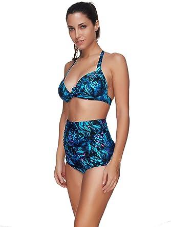 Bikini de Cintura Alta, Dos Piezas, Traje de baño Dividido ...