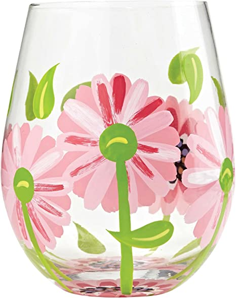 Amazon Com Designs By Lolita Oops A Daisy Hand Painted Artisan Stemless Wine Glass 20 Oz Wine Glasses