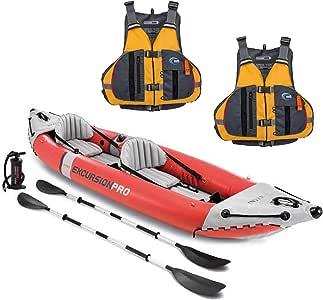 Intex Excursion Pro 2 Person Inflatable Kayak Set w/ 2 Solaris Life Jackets, M/L