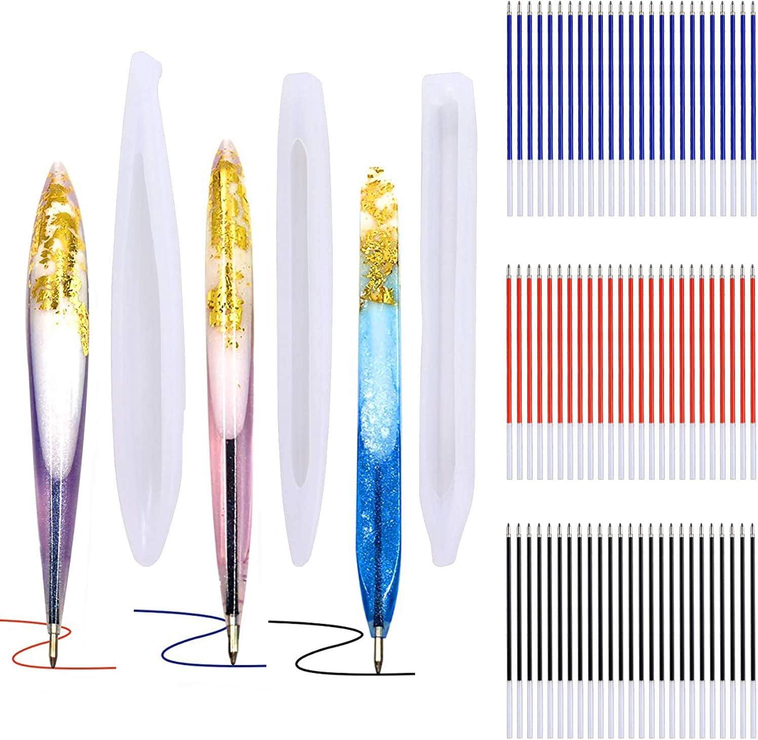 Pack de 3 moldes resina lapiceras y 75 recargas (3 colores)
