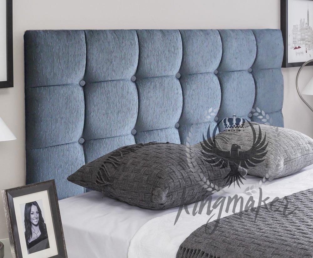TrendMakers Market Style 5FT Kingsize Bed Design Cube Linen Fabric Matching Buttons Divan Bed Headboard Box Designs 24 High w// Struts /& Fixings BLACK