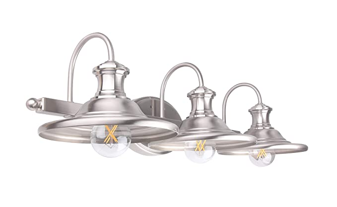 Lit Path 3 Light Bathroom Vanity Light Fixture Wall Sconce E26 Base 60w Max For Each Plating Nickel Finish Bulbs Not Included