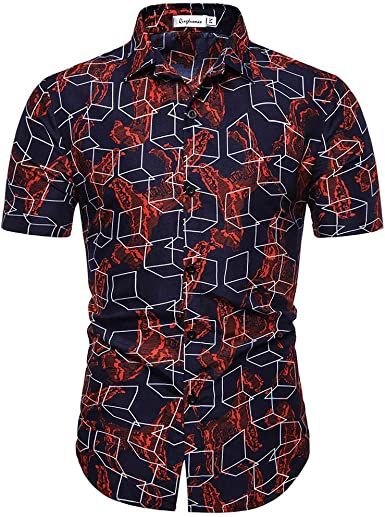 XuanhaFU Poliéster tee Shirt 1 Pack, Camisa de Manga Corta Estampada Hawaiana para Hombre Serie Rojo: Amazon.es: Ropa y accesorios
