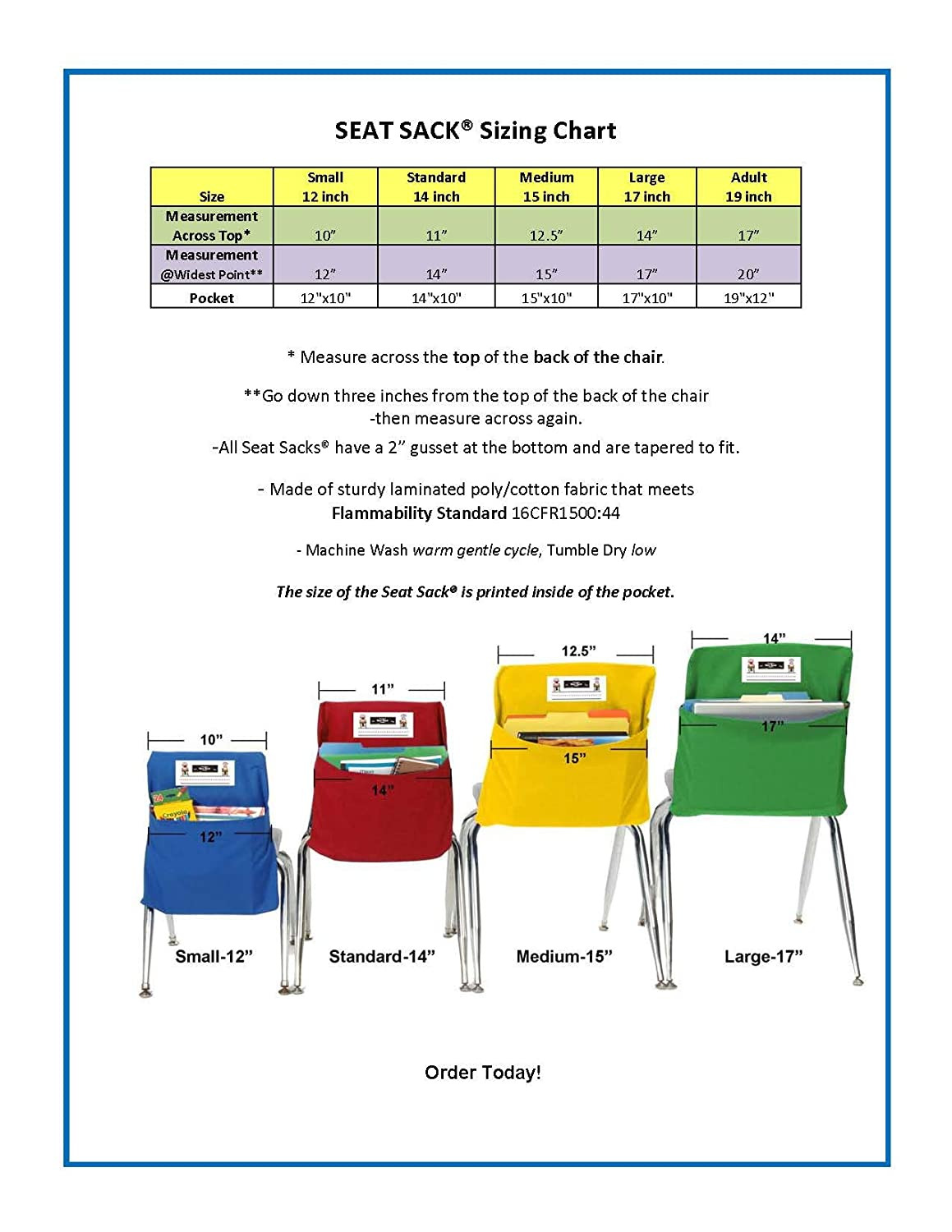 SEAT SACK 14199 14 inch Classroom Pack-Multi Color