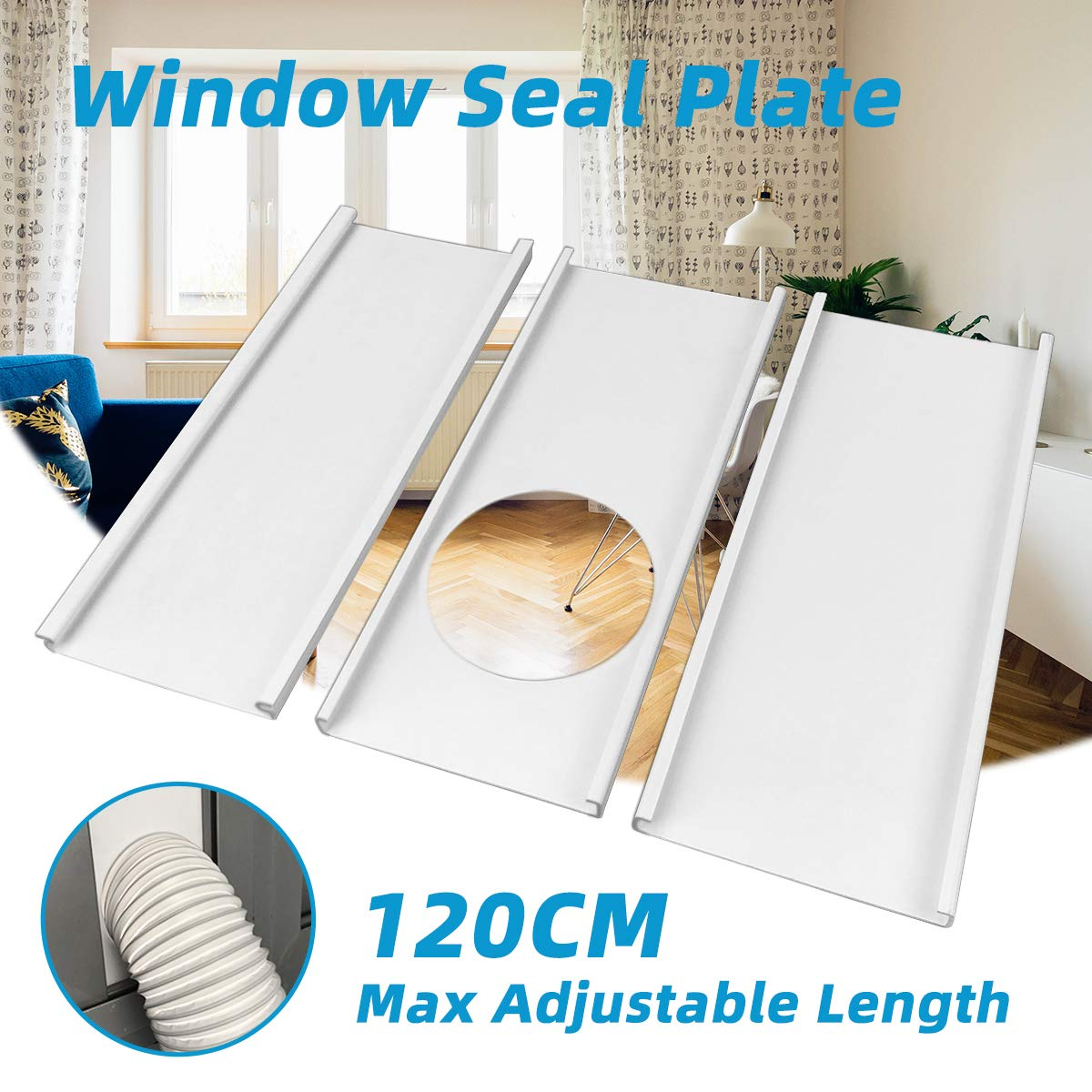Jeacent Portable Air Conditioner Window Seal Plates Kit, Plastic AC Vent Kit for Sliding Glass Doors and Windows, Adjustable Length Panels for Exhaust Hose of 6'' Diameter by Jeacent
