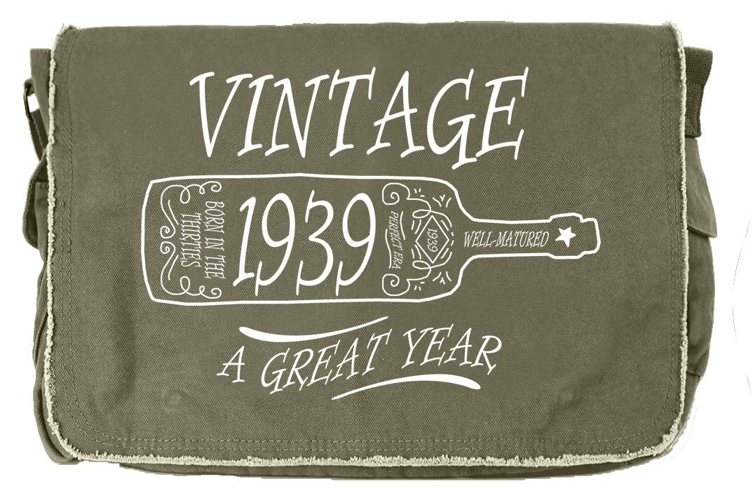 Tenacitee Aged Like a Fine Wine 1939 Grey Brushed Canvas Messenger Bag
