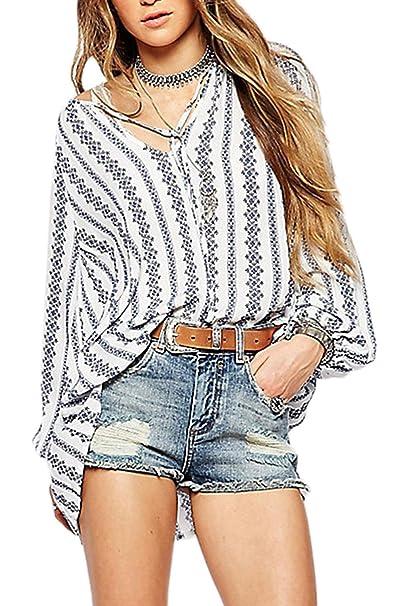 Zojuyozio Las Mujeres Verano Casual Encaje Camisa De Rayas De Manga Globo Suelto Blusas Top Tee: Amazon.es: Ropa y accesorios