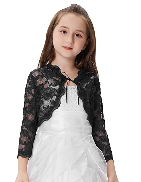 476b40f44d16 GRACE KARIN Girls 3 4 Sleeve Open Front Lace Shrug Bolero  Amazon.co ...