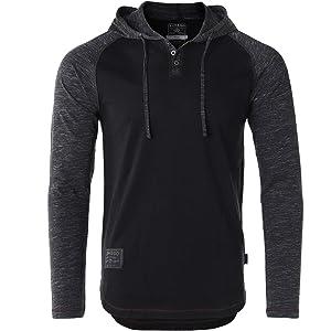 075065d06cb6 ZIMEGO Men s Contrast Long Sleeve Round Bottom Raglan Hoodie Henley T-Shirts