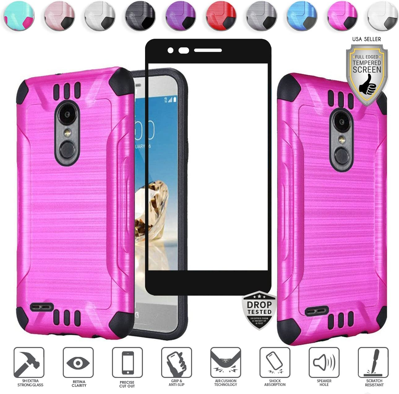 LG Fortune 2 Case, Aristo 2 Case, Zone 4 Case, Risio 3 Case, Rebel 3 Case, Tribute Dynasty Case, with Tempered Screen Protector, Brushed Design Tough Hybrid [Shockproof] Armor (Hot Pink)