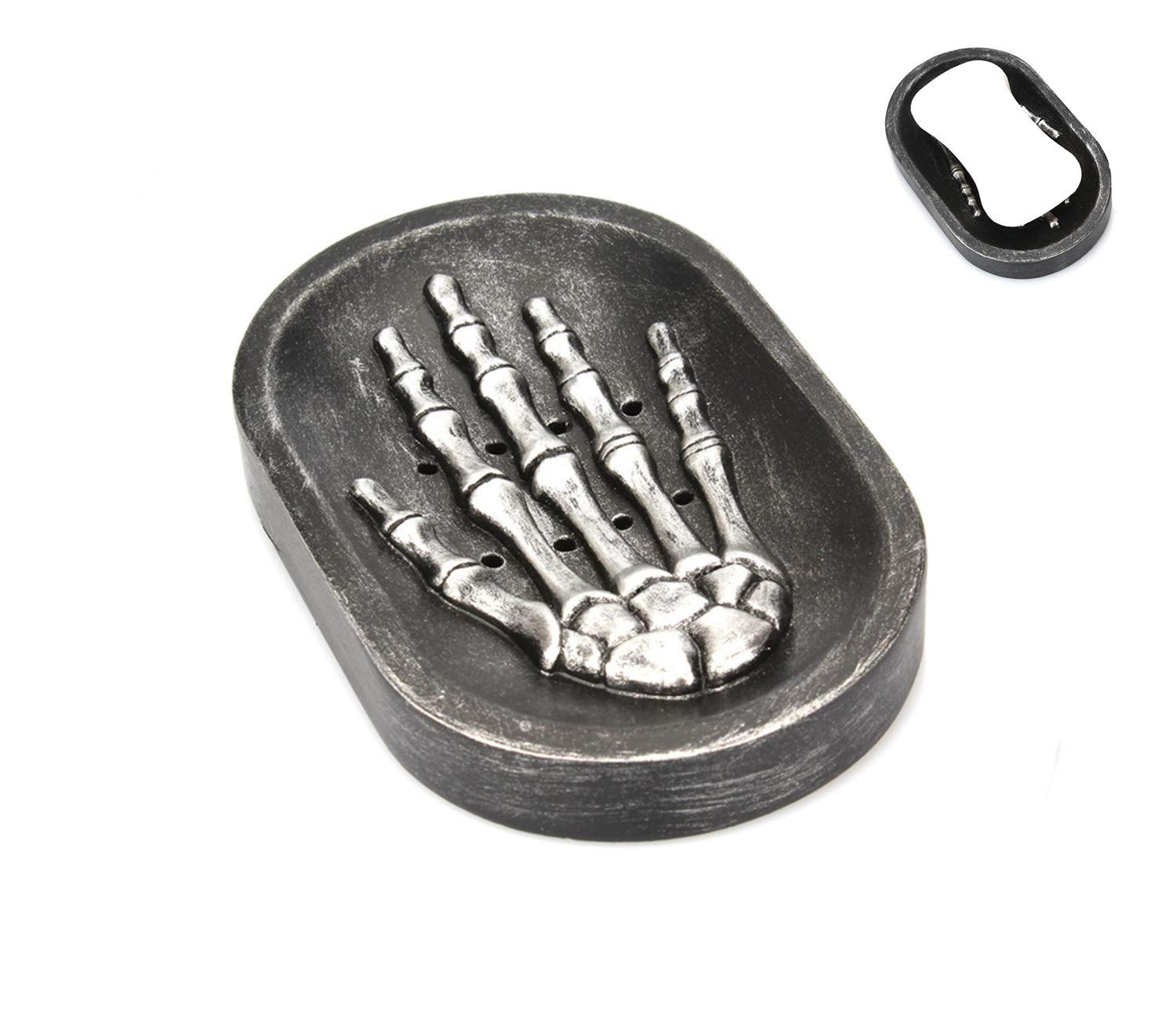 NPL Skeleton Design Soap Dish Holder Dark Style Decor for Kitchen Sink Bathroom Shower Home Hotel Office Halloween Gravely Scary Spooky Fantasy Thematic